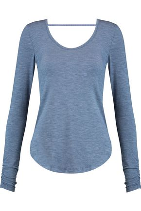 SPLENDID Henley cutout marled stretch-modal top