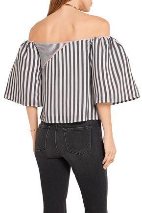 LA LIGNE Off-the-shoulder satin-trimmed striped voile top