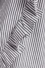 CLU Wrap-effect striped poplin-paneled cotton-blend terry sweatshirt