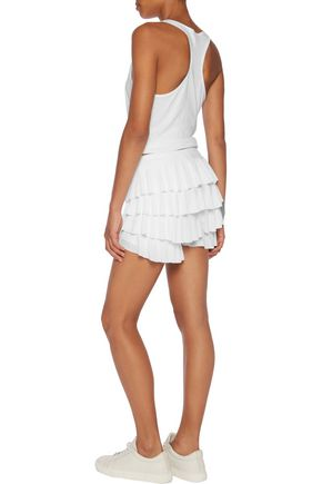 NORMA KAMALI Ruffled stretch-crepe shorts