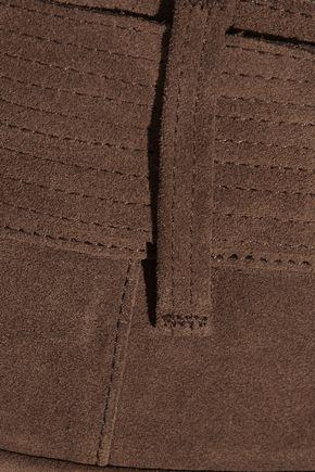 FRAME Le Patch Pocket belted suede shorts