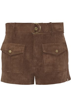 FRAME Le Patch Pocket belted suede shorts