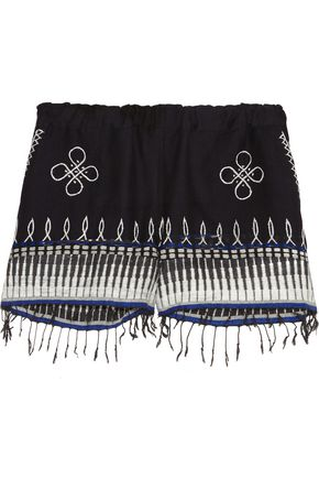 LEMLEM Wubit fringed embroidered cotton-blend shorts