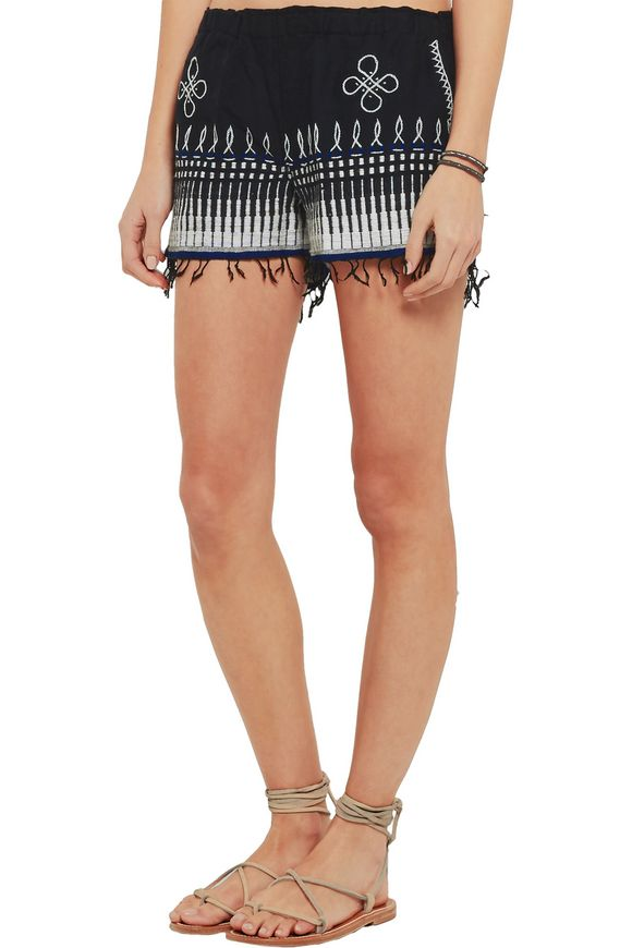 Wubit fringed embroidered cotton-blend shorts | LEMLEM | Sale up to 70% off  | THE OUTNET
