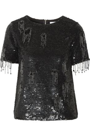 ASHISH Distressed embellished cotton top