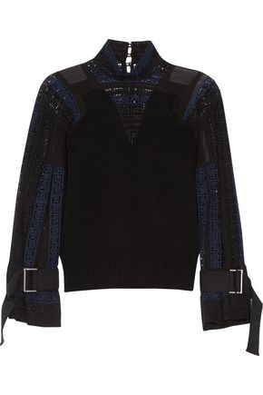 SACAI Wool, crochet and chiffon top