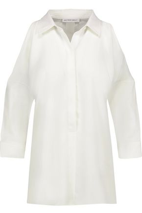 KAUFMANFRANCO Cutout cotton-blend and crepe de chine top