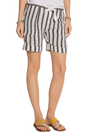 ... LEMLEM Elsabet striped cotton blend-gauze shorts ...