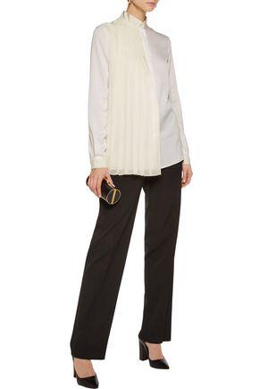 VIONNET Pleated chiffon-paneled stretch-silk shirt