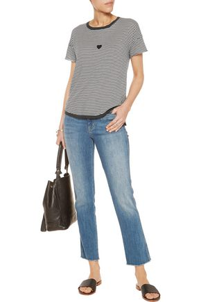 VELVET by GRAHAM SPENCER Stripped cotton-jersey top
