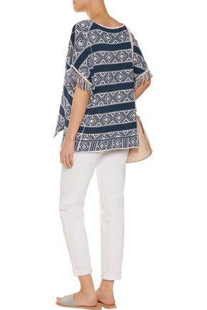 VELVET by GRAHAM & SPENCER Fringed cotton and linen-blend top
