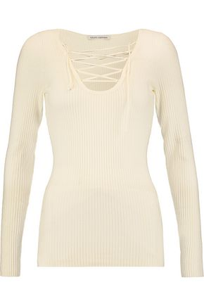 AUTUMN CASHMERE Lace-up ribbed merino wool-blend top