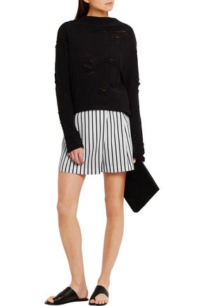 McQ Alexander McQueen Wrap-effect striped twill shorts