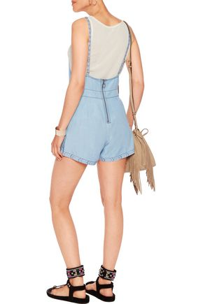 CAMILLA Embroidered tencel-chambray playsuit