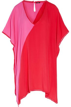 HEIDI KLUM SWIM Tamarin Sands color-block picot-trimmed cady coverup