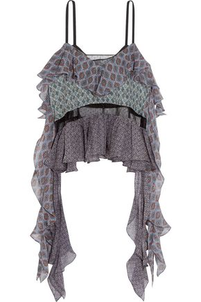 CINQ À SEPT Ismay layered draped printed silk-chiffon top