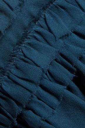 CINQ À SEPT Allegra layered ruffled silk top