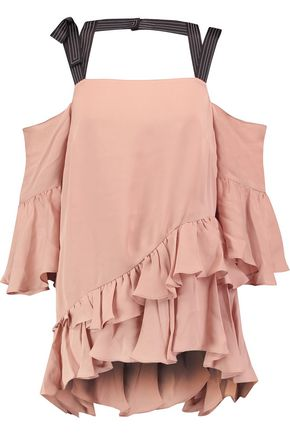 CINQ À SEPT Cold-shoulder ruffled silk top