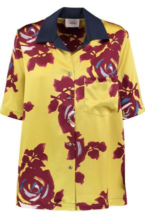CINQ À SEPT Dani printed silk-satin shirt