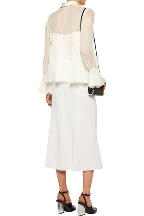 CINQ À SEPT Ailee pleated silk satin-trimmed silk-chiffon top