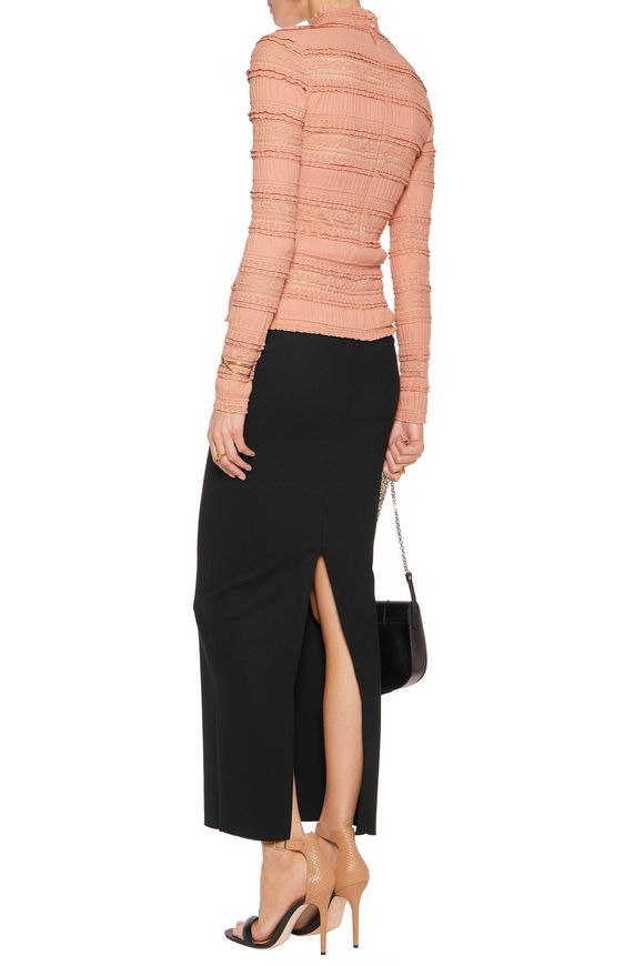 Cecily turtleneck cutout ruffled lace-paneled cotton-blend top | CINQ À SEPT  | Sale up to 70% off | THE OUTNET