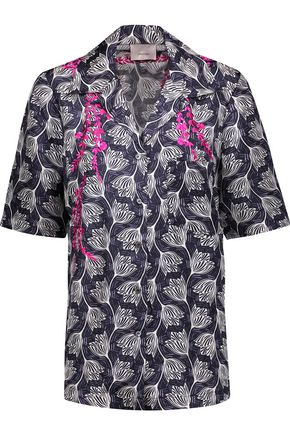 CINQ À SEPT Dani embroidered printed silk-satin shirt