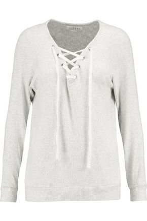 VELVET by GRAHAM SPENCER Lace-up ribbed-knit top