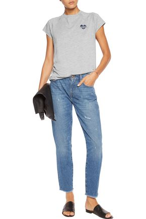 ZOE KARSSEN Embroidered cutout cotton and modal-blend T-shirt