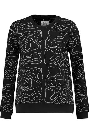 ZOE KARSSEN Embroidered cotton-blend jersey sweatshirt