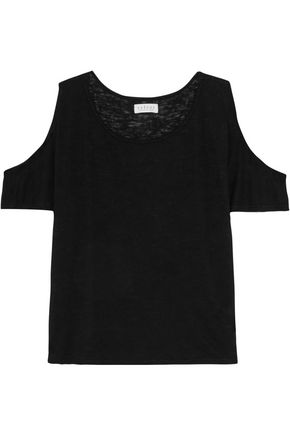 VELVET by GRAHAM & SPENCER Cold-shoulder stretch-knit top