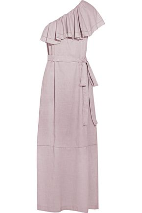 LISA MARIE FERNANDEZ Arden ruffled one-shoulder chambray maxi dress