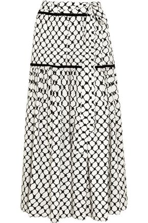 DODO BAR Or Tasseled printed silk crepe de chine maxi skirt