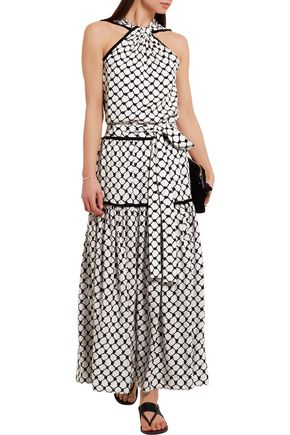 DODO BAR OR Tasseled printed silk crepe de chine maxi skirt
