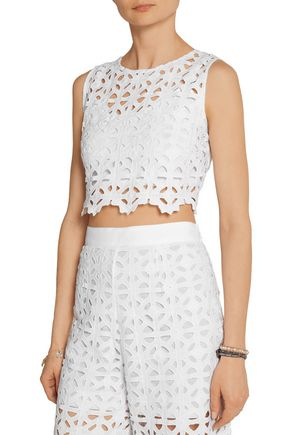MIGUELINA Ruby cropped crocheted cotton top