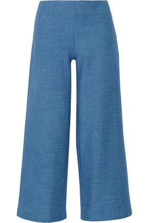 SOLID & STRIPED The Side Zip cotton-chambray wide-leg pants