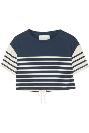 SOLID & STRIPED Cropped striped cotton top