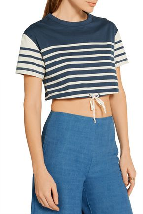 SOLID & STRIPED Cropped striped cotton-jersey top