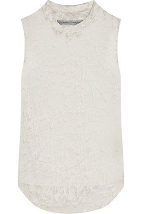 RAQUEL ALLEGRA Printed silk-georgette and jersey tank