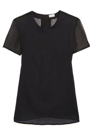 LA PERLA Chiffon-paneled cotton and silk-blend top