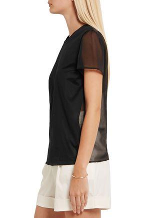 LA PERLA Chiffon-paneled cotton and silk-blend top