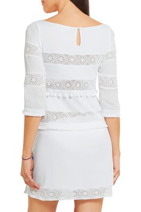 HEIDI KLEIN Crochet-trimmed cotton-crepon mini dress