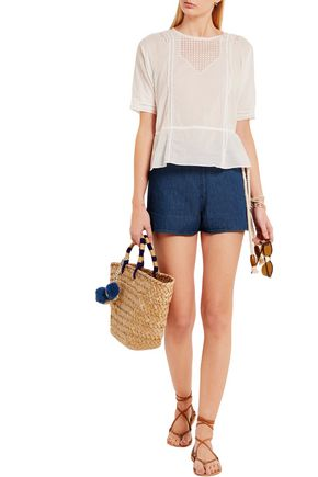 THE GREAT. Rope-detailed denim shorts