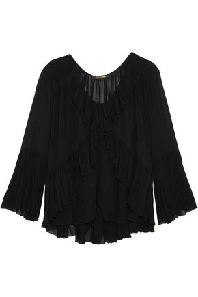 ROBERTO CAVALLI Ruffled silk-georgette top