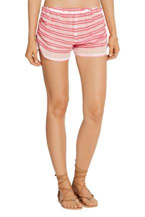 LEMLEM Selina striped cotton-blend gauze shorts