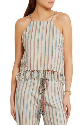 MIGUELINA Paloma fringed striped cotton-blend top