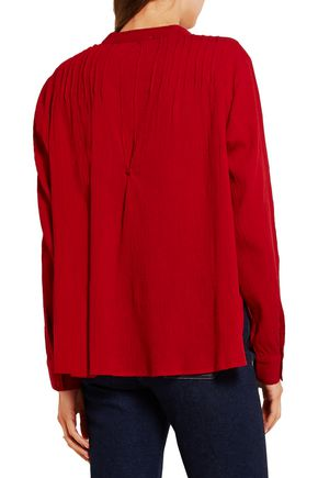 THE GREAT. Pintucked crinkled cotton-gauze blouse
