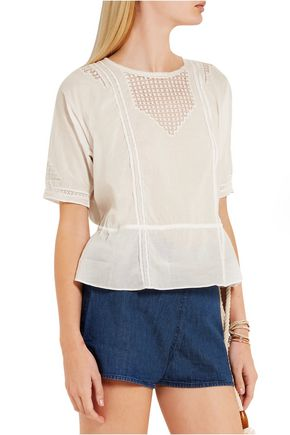 THE GREAT. Manor crochet-trimmed cotton-voile top