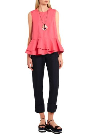 MARNI Cotton-poplin peplum top