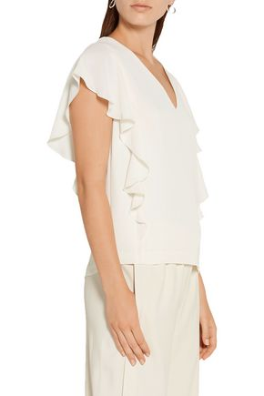 ELIZABETH AND JAMES Ruffled crepe top