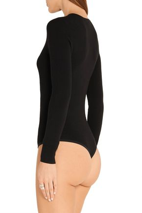 MICHAEL KORS COLLECTION Mesh-paneled stretch-jersey bodysuit